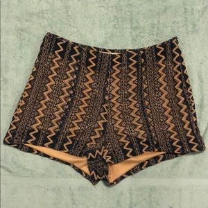 Gold and Blue Lace Shorts